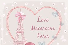Poster with french macaroon cakes