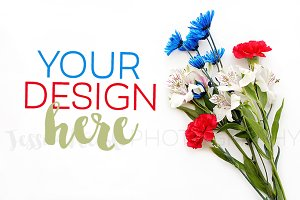 Red White Blue Flower Bouquet Photo