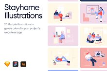 Stayhome Illustrations by  in Graphics