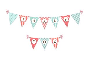 Cute Thank You bunting flags