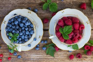 fresh raspberry and blueberry