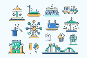 Amusement Park Line Design Icons