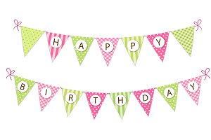 Cute Happy Birthday bunting flags