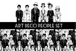 Set of Art Deco people.