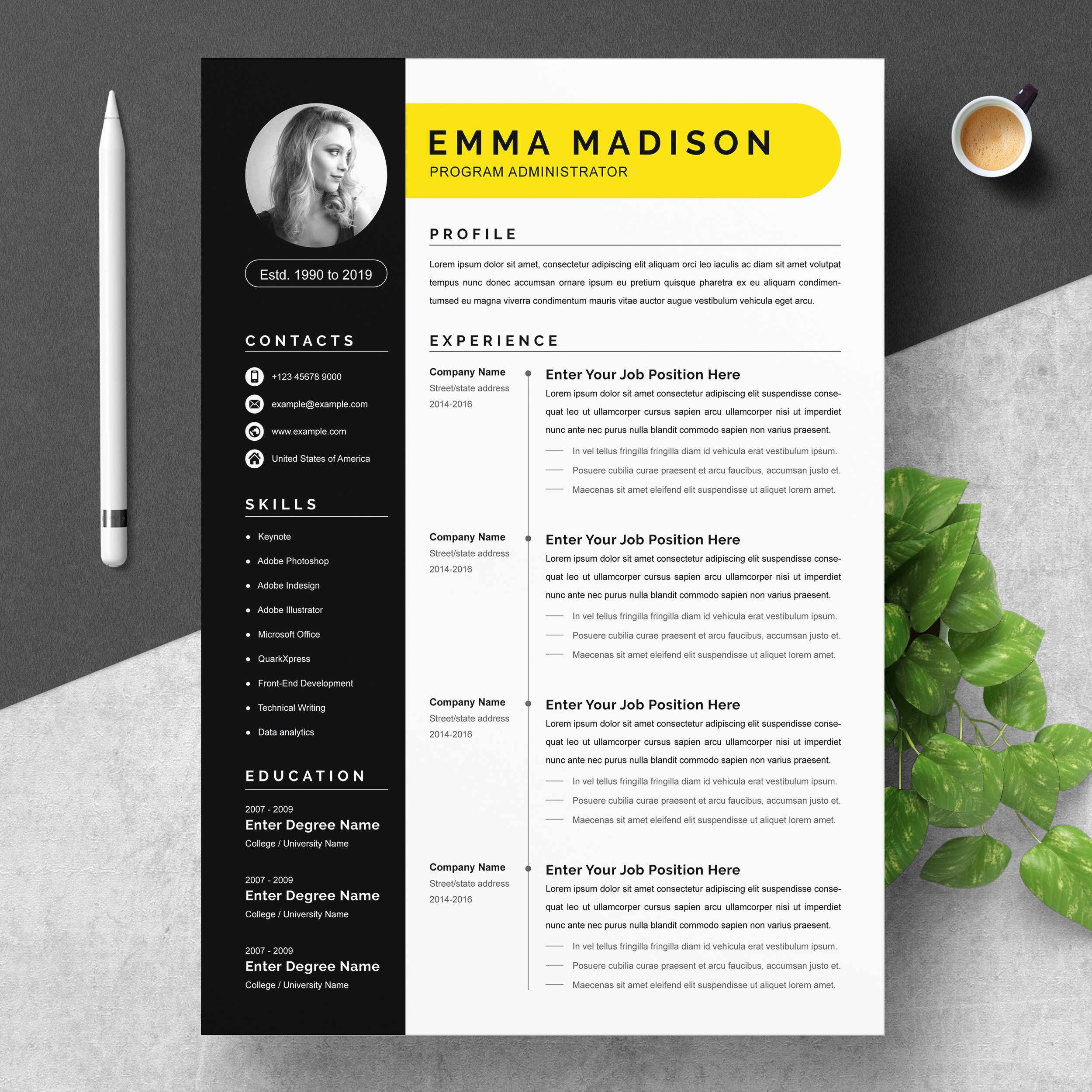 Clean Modern Resume Template Word Creative Illustrator