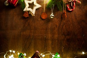 Christmas decoration over dark wood