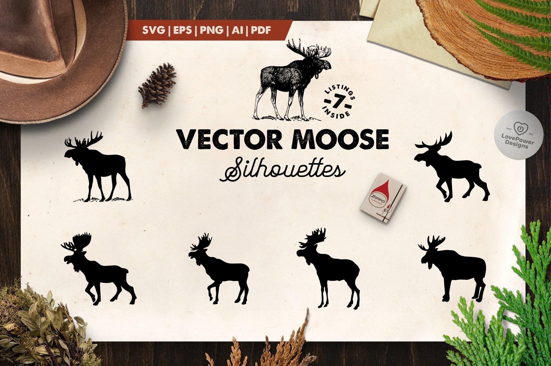 Moose Silhouettes 7 Moose Svg Pre Designed Vector Graphics Creative Market