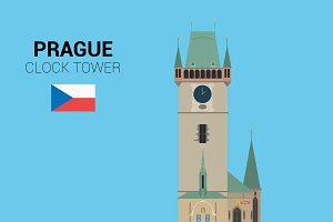 Clock Tower, Prague. Vector