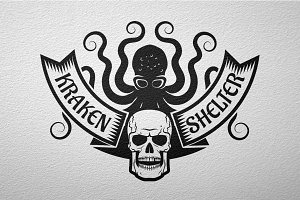 Kraken and skull logo