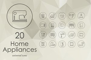 20 household appliances line icons
