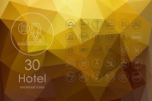 30 hotel line icons