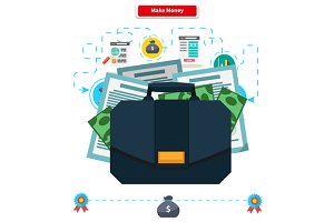 Make money. Briefcase with Income