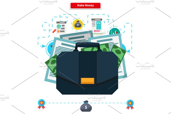Make money. Briefcase with Income - Illustrations