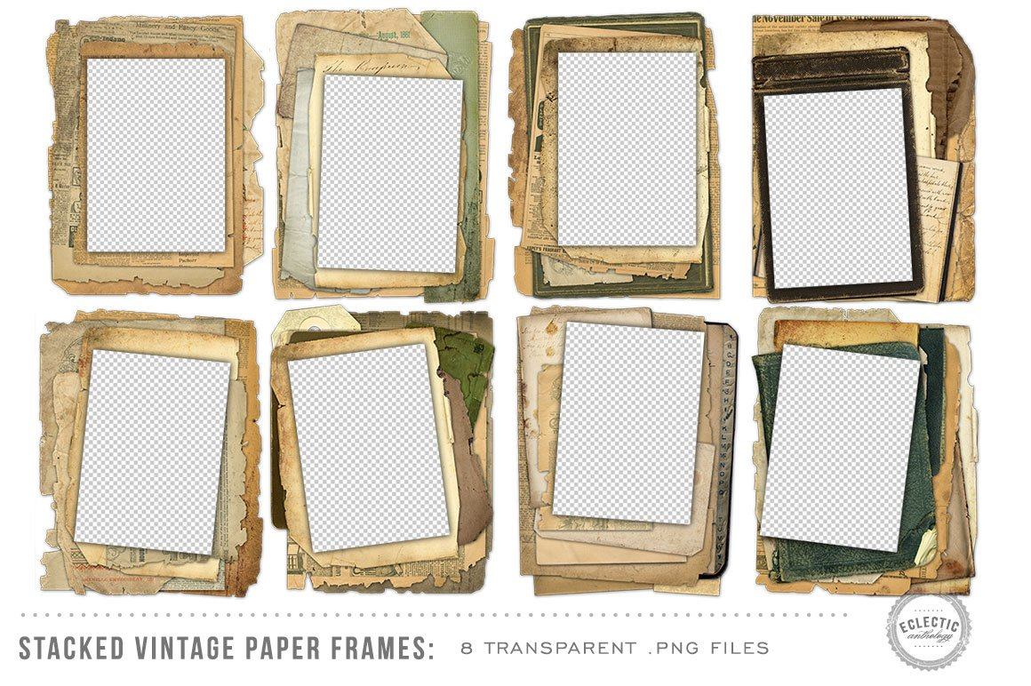 8 Stacked Vintage Paper Frames ~ Graphic Objects ~ Creative Market