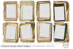 8 Stacked Vintage Paper Frames