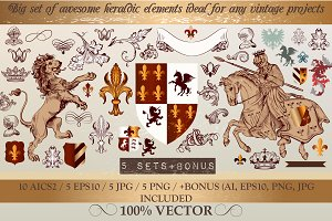 Bundle of vintage heraldic elements