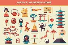 Japan Flat Design Icons Set