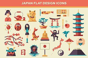 Japan Flat Design Icons Set