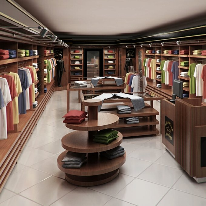 Clothing store interior render ready architecture creative market for Clothing store interior design pictures
