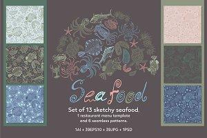 Vector sketchy seafood