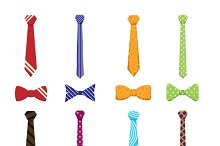 Flat neckties and bow ties icons