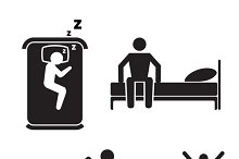 Person in bed icons. Hotel sleep.