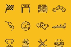 Race flag and line racing icons