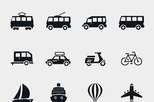 Vector monochrome transport icons