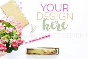 Pink Flowers + Gold Stationery Photo