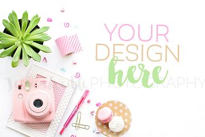 Feminine Pink Camera + Plant Photo