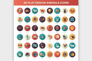 48 Flat Design Animals Icons Set