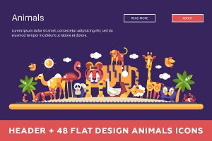 Header + Flat Design Animals Icons