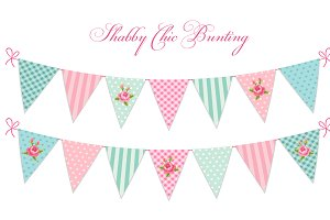 Cute shabby chic bunting flags