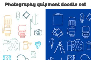 Photography Equipment Doodle Set