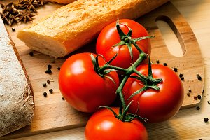 Tomatoes, bread and spices