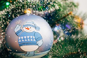 Christmas ornaments ball snowman