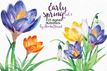 Watercolor Cliparts - Early Spring