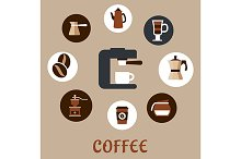 Flat coffee icons around the coffee