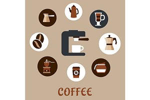 Flat coffee icons around the coffee