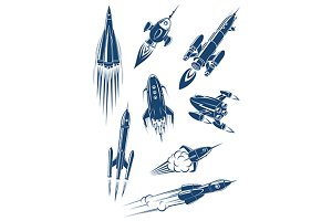 Cartoon spaceships and rockets in