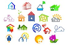 Colorful real estate and house icons