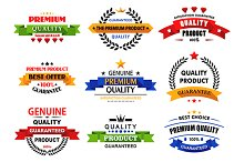 Flat banners, emblems and labels