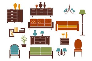Flat furniture and home interior