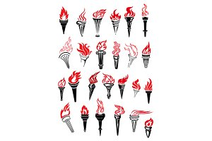 Flaming torches with red flames