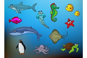 Cartoon happy smiling sea animals