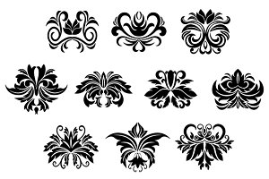 Floral design elements with leaves