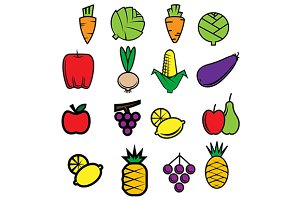 Fresh vegetables and fruits icons