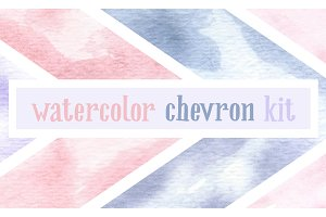 Watercolor Chevron Bundle