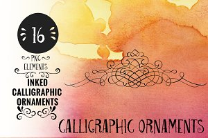 Inked Calligraphic Ornaments