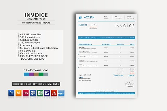 Invoice with Letterhead Stationery Templates on Creative Market – Invoice Letterhead